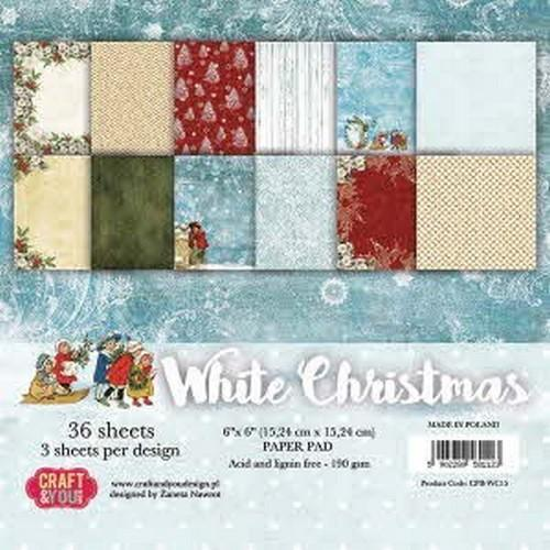 Craft&You white Chritmas Small Paper Pad 6x6 36 vel CPB-WC15 (09-18)