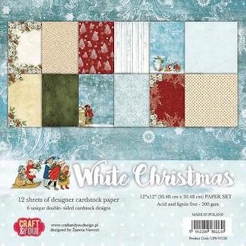 Craft&You white Chritmas BIG Paper Set 12x12 12 vel CPS-WC30 (09-18)