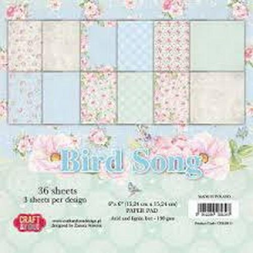 Craft&You Bird Song Small Paper Pad 6x6 36 vel CPB-BS15