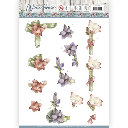 3D Pushout - Precious Marieke - Winter Flowers - Amaryllis