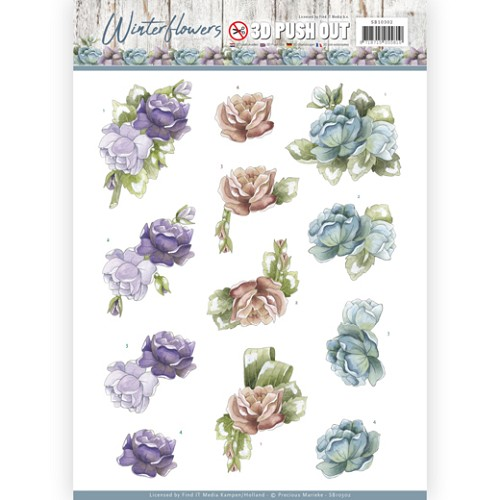 3D Pushout - Precious Marieke - Winter Flowers - Roses