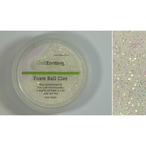 CraftEmotions Foamball clay - wit glitter 75ml - 23gr Air dry