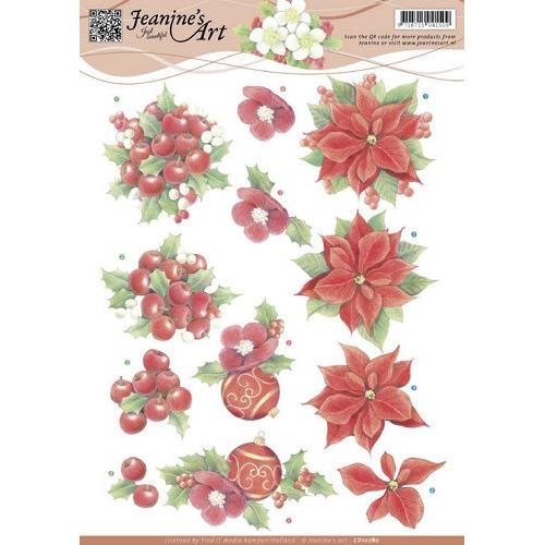 3D Knipvel - Jeanine`s Art - Red Christmas Flowers