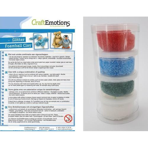 CraftEmotions Foamball clay -  Xmas glitter  set 4 x 23gr Air dry