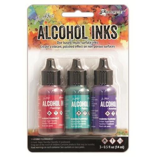 Ranger Alcohol Ink Kits  Beach Deco Flamingo/Patina/Amethyst TAK52548 Tim Holtz 3x15ml