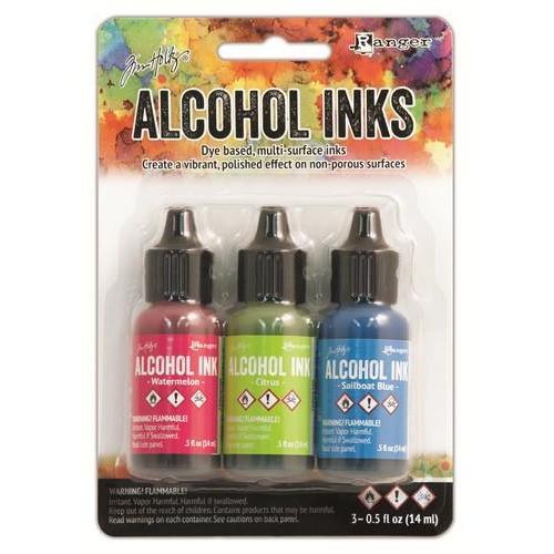 Ranger Alcohol Ink Kits  Dockside Picnic Watermelon,Citrus,.. TAK25962 Tim Holtz 3x15ml