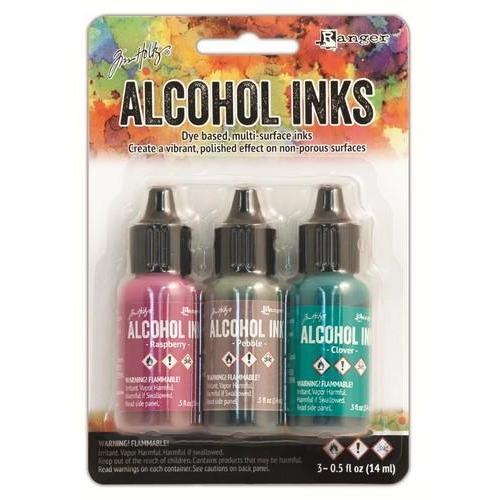 Ranger Alcohol Ink Kits  Valley Trail Raspberry,Pebble,Clover TAK25979 Tim Holtz 3x15ml