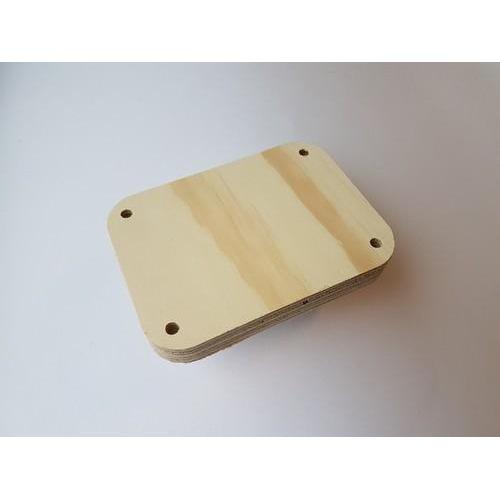 CraftEmotions Craft Wood -Macramé- Plank rechthoek(afgerond) 13,5x10cm - 1,8cm - holes 7mm