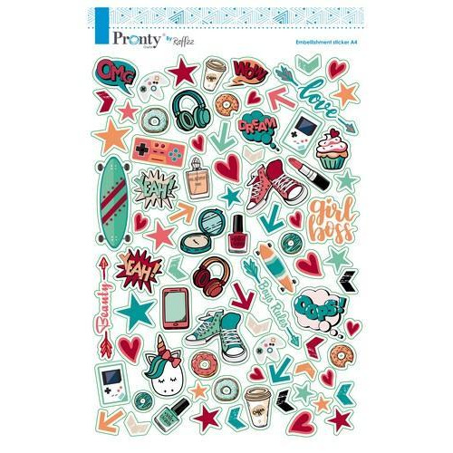 Pronty Scrap stickers A4 Pretty & Cool 491.100.001 By Raffzz (10-18)