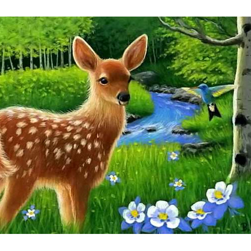 Daimond painting 50 x 70 bambi in bos