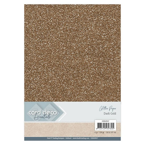 Card Deco Essentials Glitter Paper Dark Gold