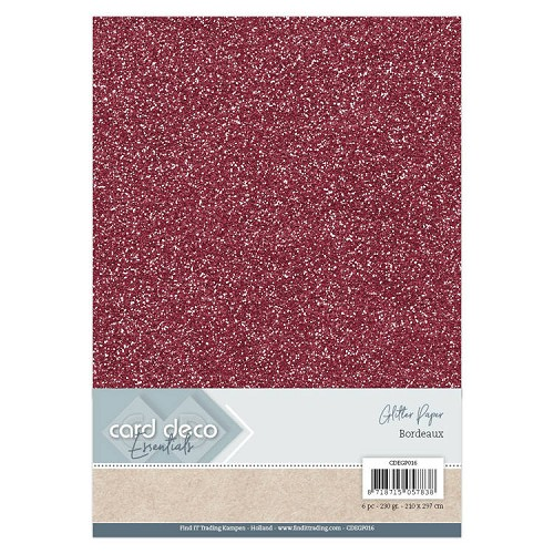 Card Deco Essentials Glitter Paper Bordeaux
