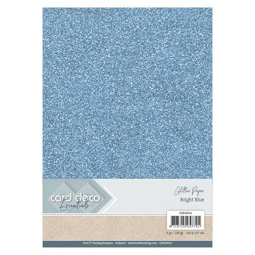 Card Deco Essentials Glitter Paper Bright Blue
