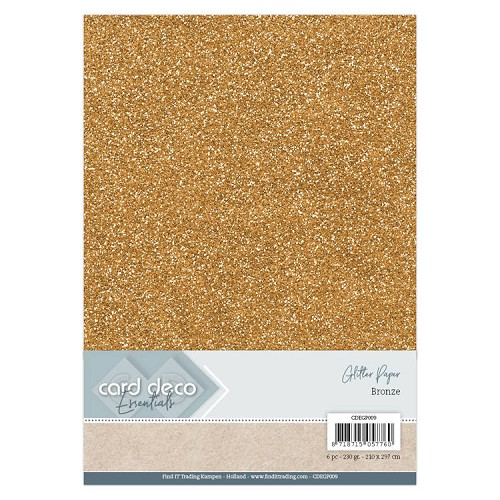 Card Deco Essentials Glitter Paper Bronze