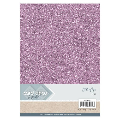 Card Deco Essentials Glitter Paper Pink