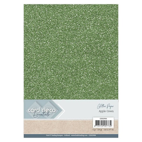 Card Deco Essentials Glitter Paper Apple Green