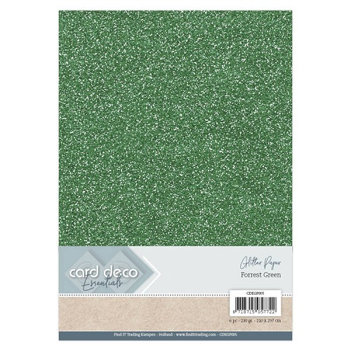 Card Deco Essentials Glitter Paper Forrest Green