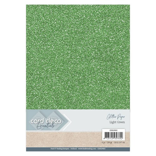 Card Deco Essentials Glitter Paper Light Green