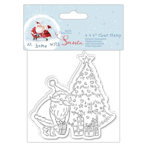 "4 x 4"" Clear Stamp - At Home with Santa - Tree"