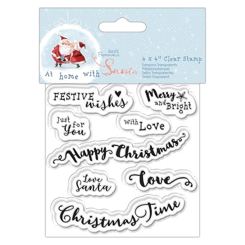 "4 x 4"" Clear Stamp - At Home with Santa - Sentiments"