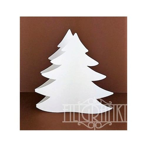 Christmas Tree Cards set 5pcs white