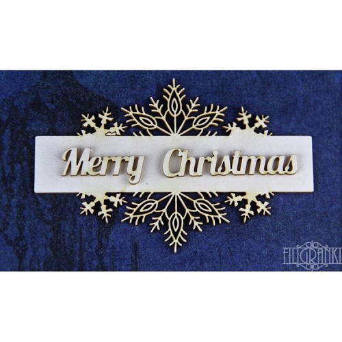 Filigranki Laser Cut Chipboards frame+Merry Christmas
