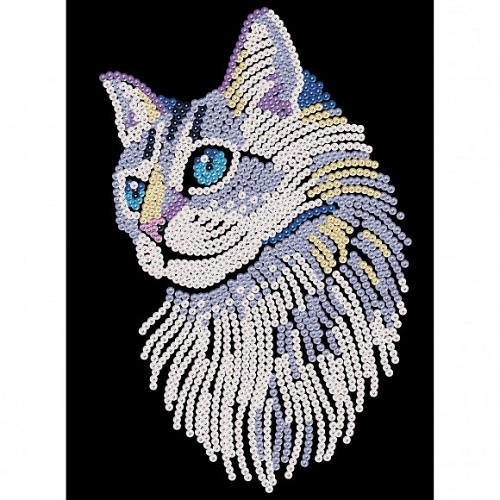 Sequin Art Blue white cat