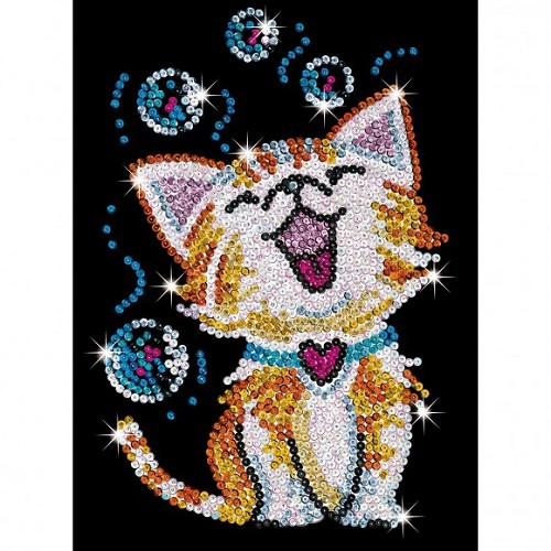 Sequin Art Red Kat Bubbles
