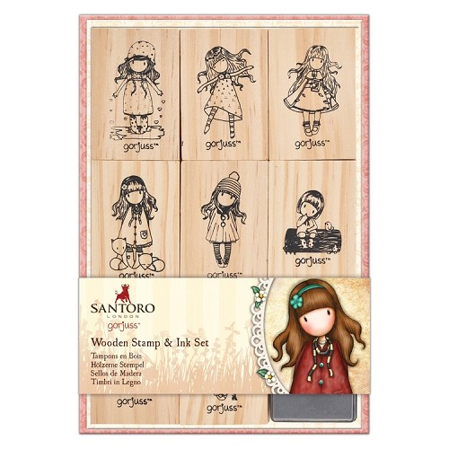 Wooden Stamp and Ink Set (9pcs) - Santoro