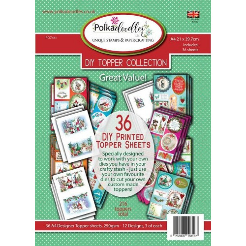 Polkadoodles A4 Xmas topper pack 36 vel