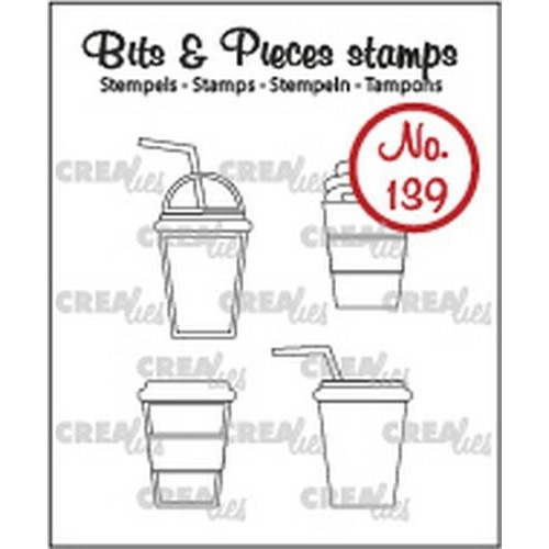 Crealies Clearstamp Bits & Pieces 4x mok om mee te nemen CLBP139 4x 24mm (11-18)