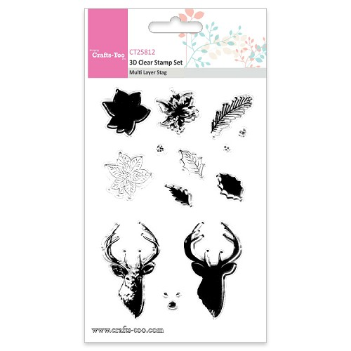 Crafts Too 3D Clearstamp Set - Multi Layer Layer  Stag (13pcs)