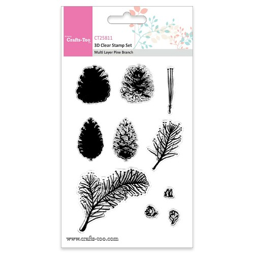 Crafts Too 3D Clearstamp Set - Multi Layer Layer  Pine Branch (10pcs)