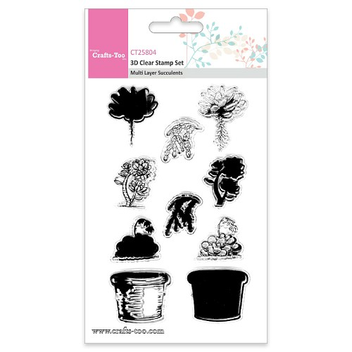 Crafts Too 3D Clearstamp Set - Multi Layer  Layer Succulents(10pcs)