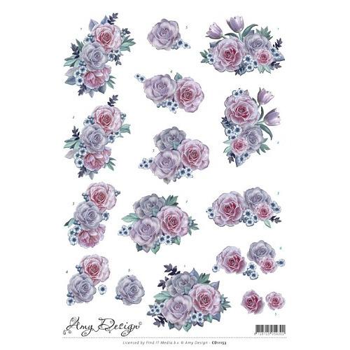 3D Knipvel - Precious Marieke - Purple Flowers