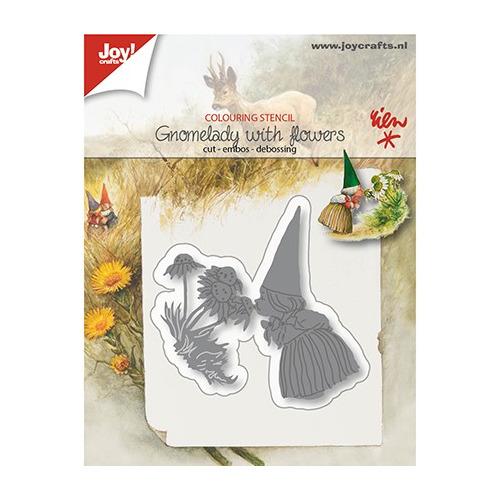 Cutting, Embossing & Debossing Snij-embos-debosstencil - Kaboutervrouw met bloemen
