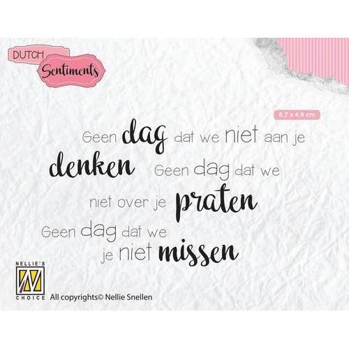 Nellies Choice Clearstempel Sentiments - Geen dag dat we niet (NL) SENC014 87x49mm (12-18)