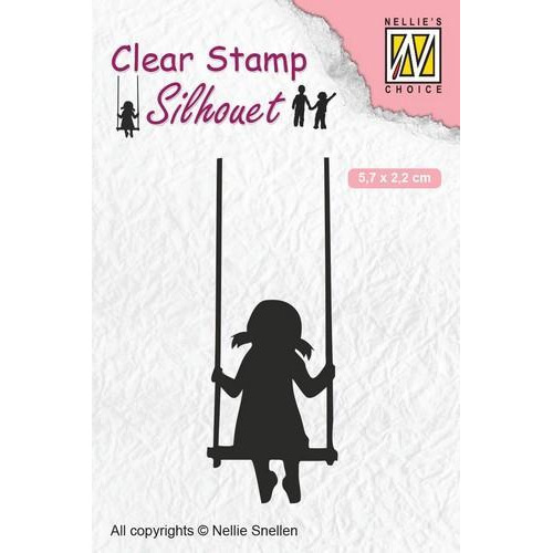 Nellies Choice Clearstempel - Silhouette schommelend kind SIL045 57x22 mm (12-18)
