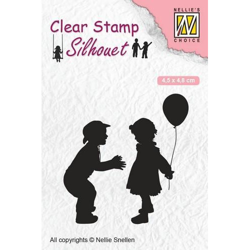 Nellies Choice Clearstempel - Silhouette kinderen met ballon SIL046 45x48 mm (12-18)