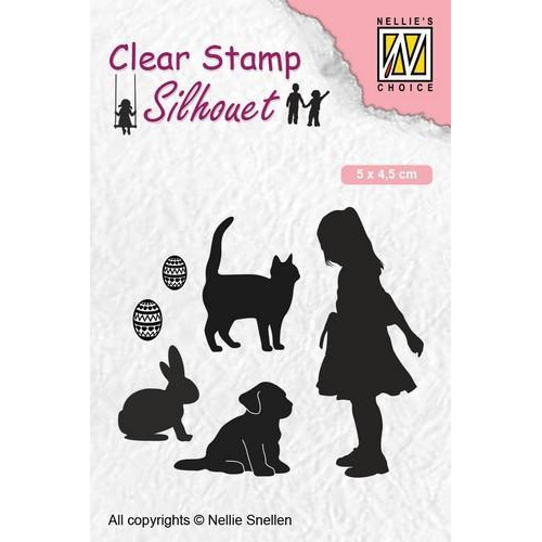 Nellies Choice Clearstempel - Silhouette kind - dierenvriend SIL050 50x45 mm (12-18)