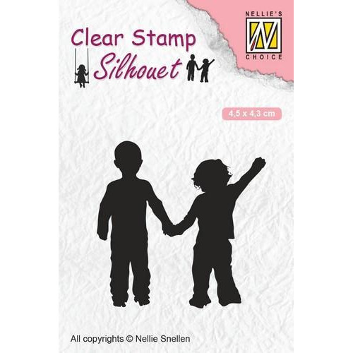 Nellies Choice Clearstempel - Silhouette kind - dikke vrienden SIL051 45x43 mm (12-18)