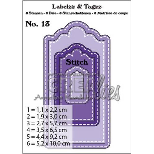 Crealies Labelzz & Tagzz no. 13 CLLT13 / 5,2x10,0cm (12-18)