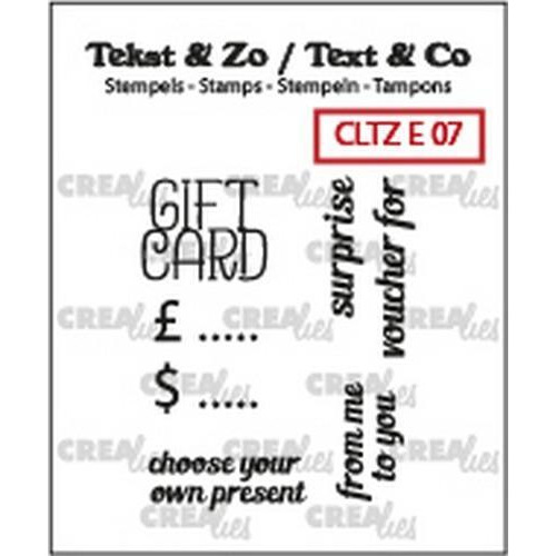 Crealies Clearstamp Tekst & Zo text gift card (ENG) CLTZE07 22mm (12-18)