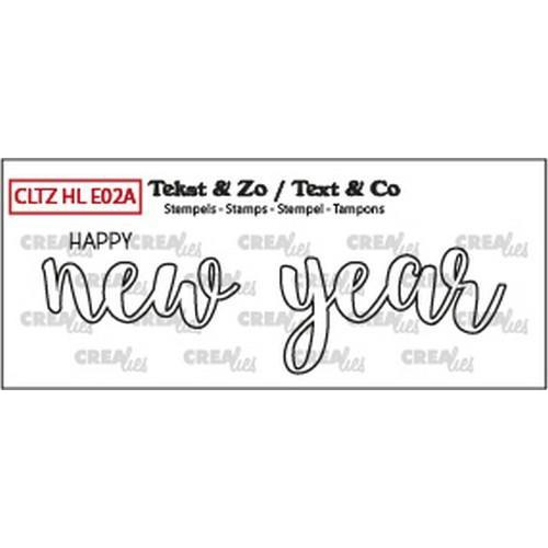 Crealies Clearstamp Text & Co Handlet.  happy new year outline CLTZHLE02A 26x85mm (12-18)