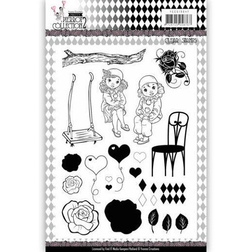 Clear Stamps - Yvonne Creations- Pretty Pierrot 2