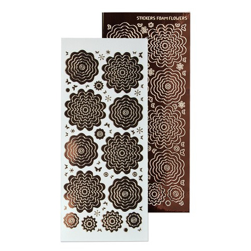 Nested Flowers stickers 8. mirror brown