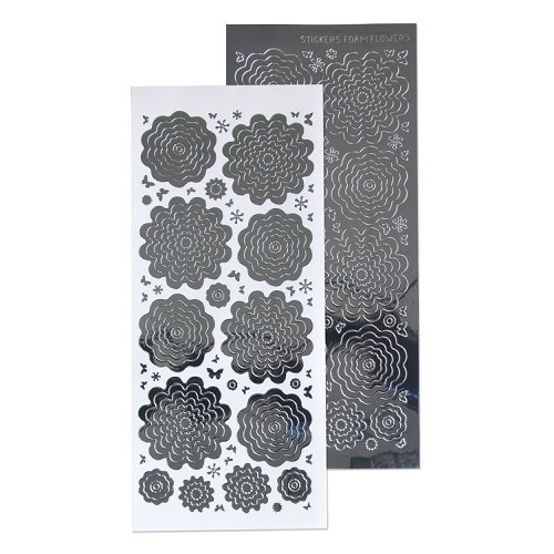 Nested Flowers stickers 3. mirror silver