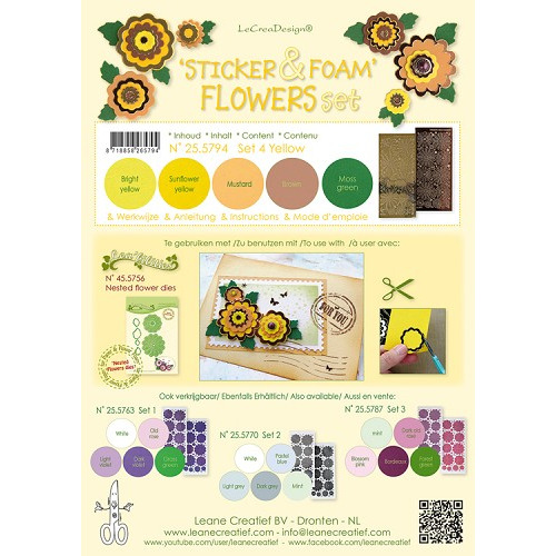 Sticker &  Foam Flowers Set 4, 5 sheets A4 0.8mm. yellow & 2 nested flower stickers  incl. instructi