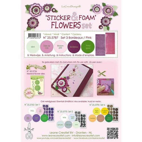 Sticker &  Foam Flowers Set 3, 5 sheets A4 0.8mm. bordeaux/pink  & 2 nested flower stickers  incl. i