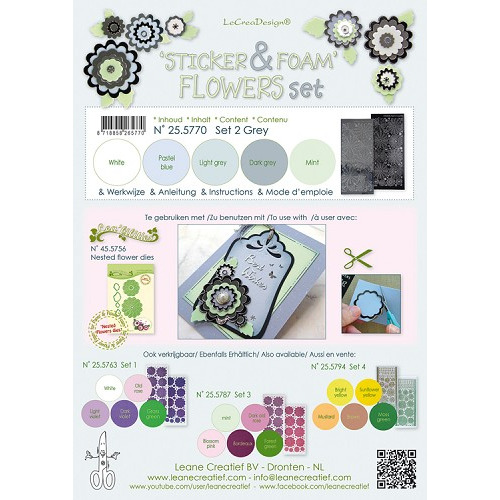Sticker &  Foam Flowers Set 2, 5 sheets A4 0.8mm. grey  & 2 nested flower stickers  incl. instructio